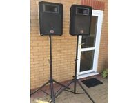 Wharfedale pa/disco speakers and stands