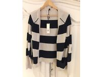 New Topshop Black & Cream Striped Cardigan Size- 14