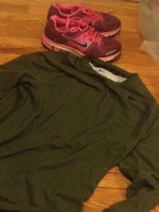 Small dry fit long sleeve Nike shirt and Nike shoes