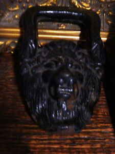 PAIR salvaged 19thC GOTHIC lion heads CAST IRON over 4LB EACH