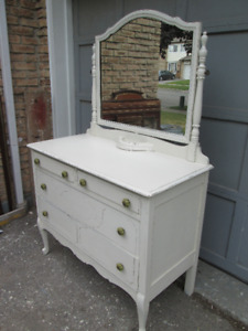 Vintage Antique White Shabby Chic Dresser with Mirror