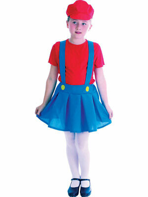 Mario Luigi Fancy Dress Plumber Workman Costume Girls Video Game 5-10 Years New