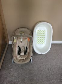 Baby bundle bouncer and bath (can sell separately)