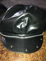 Black pleather look biker hat