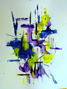 "PURPLE HAZE by Oakville artist Valerie Koudelka / Abstract Art Acrylic painting paper unframed 9X12""purple lime green"