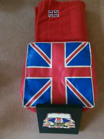 Unionjack footstool,blanket,picture