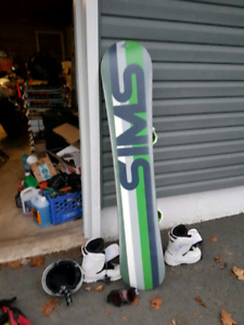 Sims snowboard, bindings, boots, and helmet