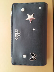 Guess Black Silver Logo Star Diamond Butterfly with studs smartp