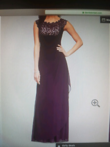 Plus size long gown. BEAUTIFUL PLUM COLOR WITH CHAMPAGNE