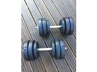 30KG DUMBBELL WEIGHTS SET GYM BARBELLS BICEPS/ARMS/CHEST WORKOUT EQUIPMENT