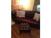 2x3 custom made chesterfield, matching footstool