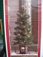 NEW- Pre-lit Christmas Tree in Lighted Urn- Indoor or Outdoor