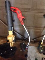 Gas leaf blower/vac and electric grass trimmers