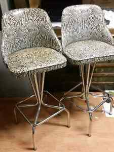 Antique  / Retro Snakeskin Vinyl Bar Stool Chairs