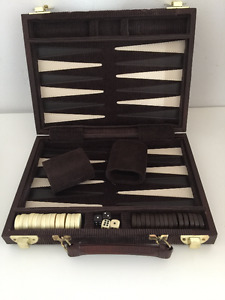 Gorgeous Rich Chocolate Brown 16 inch (open) Backgammon Game