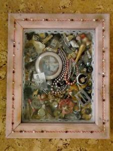 Decorative Art Piece With Antique Keepsakes.