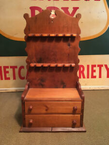 Antique Pine Wood Spoon Holder and Cabinet
