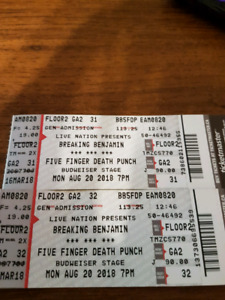 Breaking Benjamin & Five Finger Death Punch tickets.