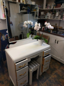 Solid Wood Painted Vanity with Mirror and Stool