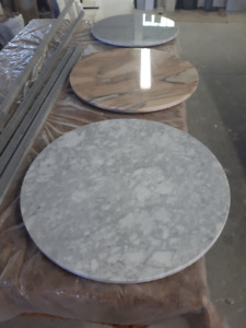 Marble table tops and cast iron french bistro table bases