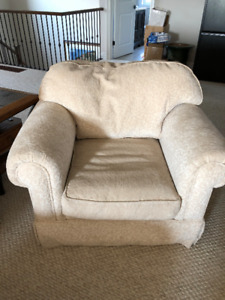 2 over-sized down-filled armchairs