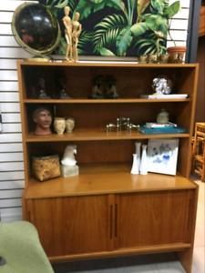 Meuble bibliothèque Vintage en bois de Tek pour rangement