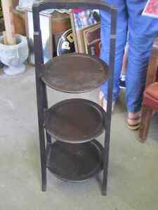 1930s MISSION OAK 3 TIER ARTS & CRAFTS CAKE PLANT STAND $40.00