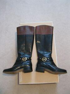 Michael Kors Black / Mocha Fulton Harness Boots Size 6