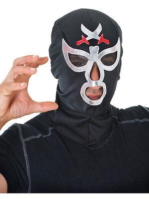 Wrestler Halloween-kostüme (Mens Macho Wrestler Mask Ninja Hero Mysterio Halloween Fancy Dress Accessory New)