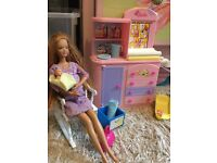Barbie kitchen and baby set
