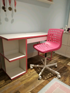 Ikea white and pink desk and the chair