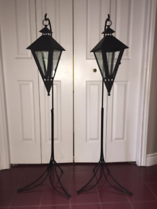 Floor Candle Sconces- Black wrought iron floor candles