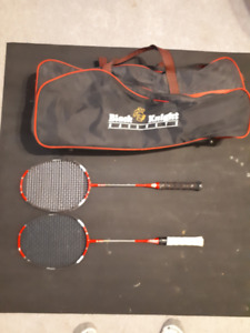2 Black Knight M2012 Badminton Racquets and bag