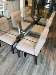 Glass Dining Table w/ 6 Chairs (Taupe)