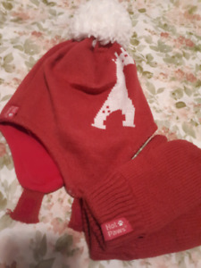 Hot paws  hat and gloves toddler size 2 - 3x