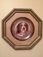 FRAMED BEARDED COLLIE CHINA PLATE