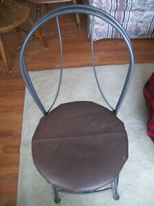 METAL CHAIR NEW LEATHER  SEAT  .EXTRA STRONG ..