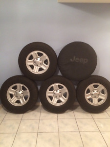 5 Goodyear Wrangler tires & Rims from 2016 Jeep Sport Wrangler