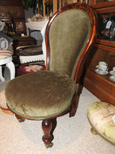 antique Victorian no arm child's chair, rosewood, new fabric