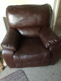 FAUX LEATHER BROWN RECLINER
