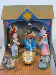 9 Vintage Nativity Pieces-Baby Jesus-Mary-Joseph-Made in Japan