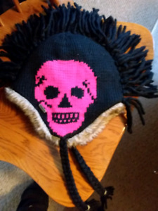 Hand made wool punk skull hat for sale fits a small adult head