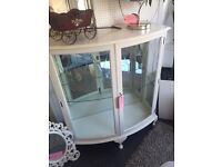 Display cabinet with lights and shelf. Lovely shabby chic