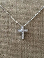 Princess Cut 14kt White Gold Diamond Cross Pendant with Chain