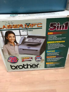 5 in 1 Brother Laser printer, copier, fax, scanner, PC fax.
