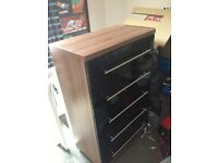 Solid chest of drawers black gloss/dark wood