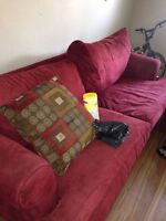 Rose red suede love seat