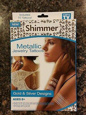 Shimmer Metallic Jewelry Tattoos ( 70 Temporary Tattoos) NEW (Shimmer Tattoos)