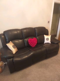 3 seater bonded leather brown recliner