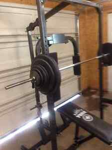 York squat rack, hi and low cables, 205 pounds and more